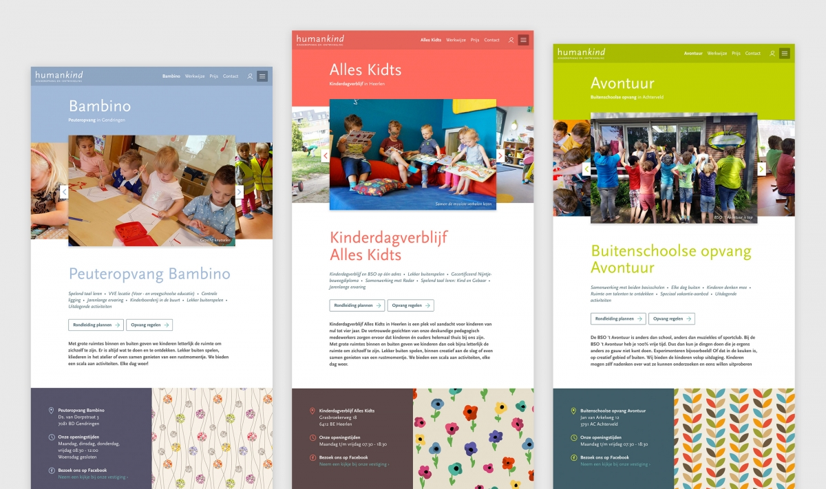 Landingspagina's voor Peuteropvang, Kinderdagverblijf en Buitenschoolse opvang