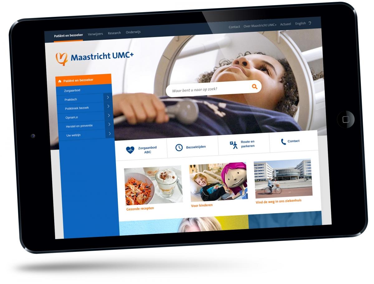 Maastricht UMC+ website op iPad